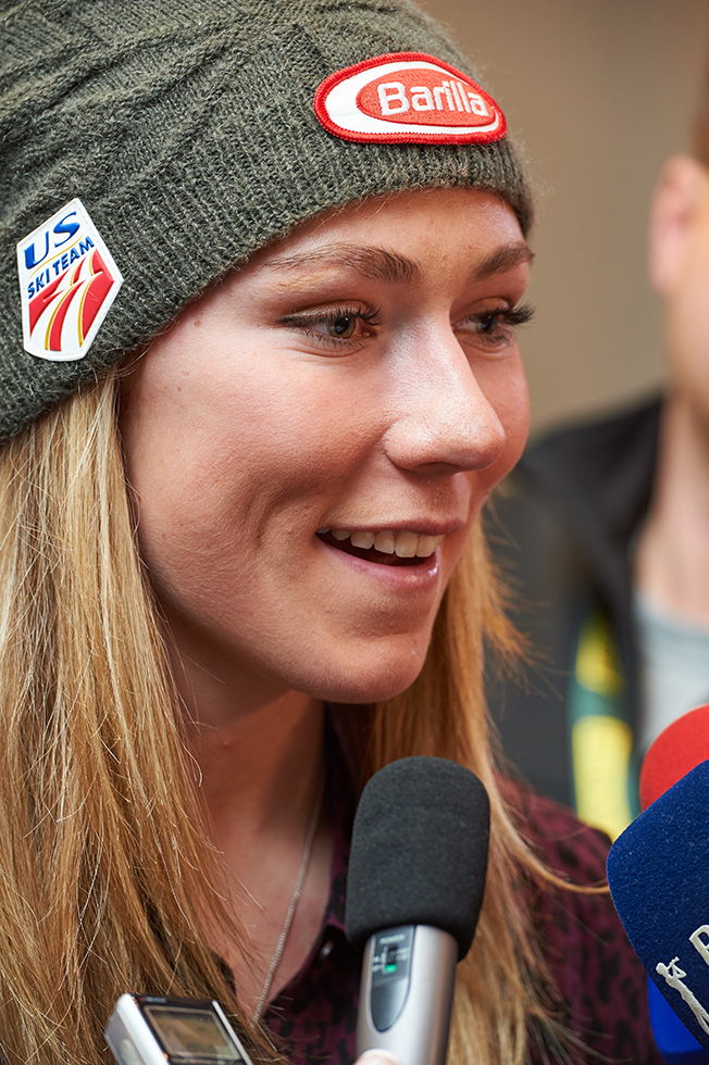Mikaela Shiffrin by Mike Lyons Photography handling the press like a pro