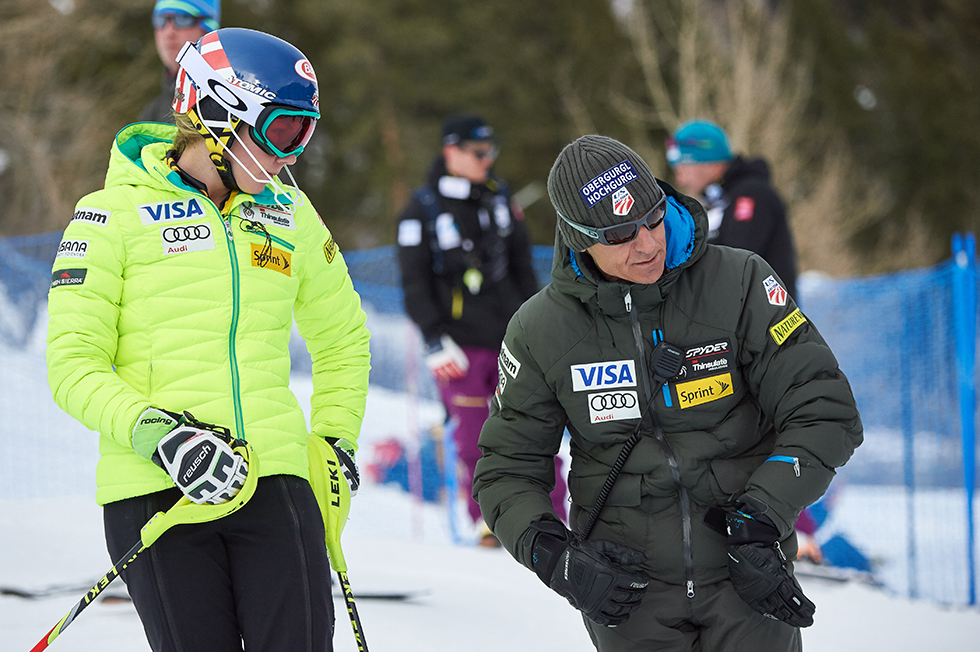 Mikaela Shiffrin gathering advice from her Coach in World Cup Skiing
