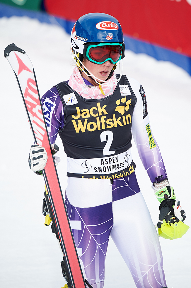 Mikaela Shiffrin with Atomic Skis