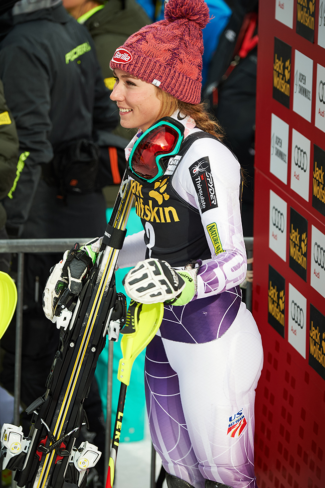 Mikaela Shiffrin in the winners circle as she watches the next racer