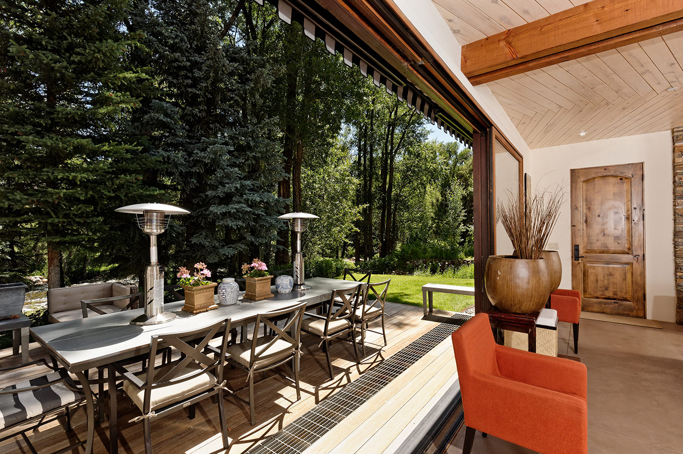 Living room and a big outdoor deck photographed by Mike Lyons in Woody Creek Colorado